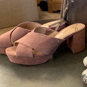 San Edelman pink suede platform sandals